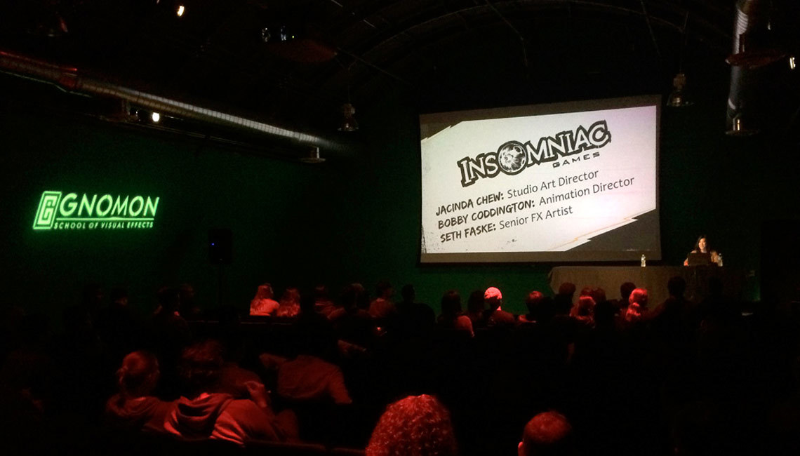 The Making of Sunset Overdrive with Insomniac Games, held Thursday, December 4th in Gnomon's green screen stage.