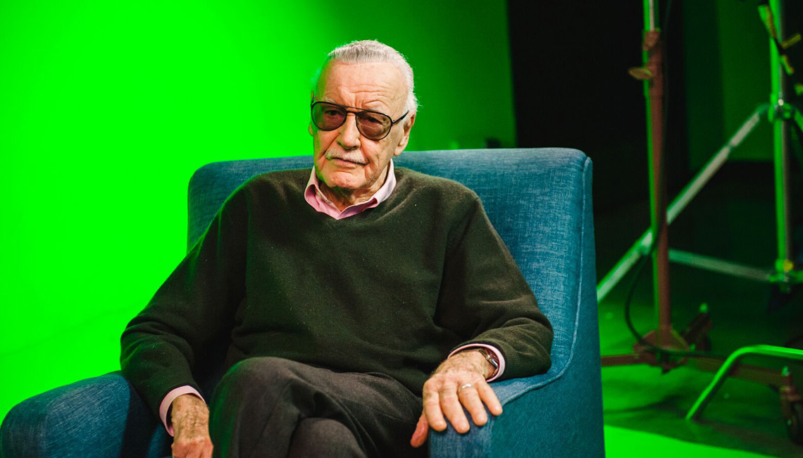 Comics legend Stan Lee on Gnomon's greenscreen stage during the live shoot for new VR experience Stan Lee's Cosmic Crusaders. Photo: Desiree Asher.